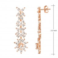 Rose Gold Plated with Clear Cubic Zirconia Dangle Earrings