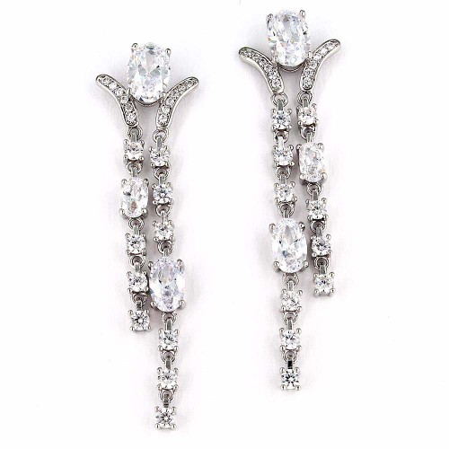 Rhodium Plated with Cubic Zirconia Dangle and Drop Earrings Earrings