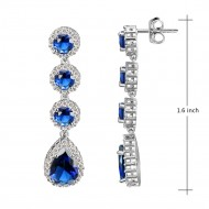 Rhodium Plated With Sapphire Blue Stone Cubic Zirconia Bridal Earrings