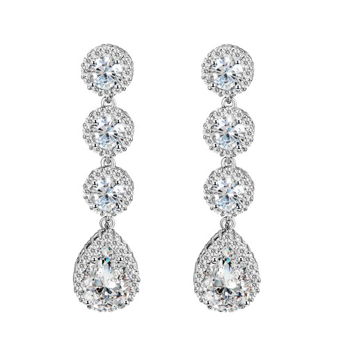 Rhodium Plated With Clear Color Stone Cubic Zirconia Bridal Earrings