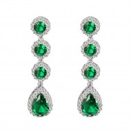 Rhodium Plated with Emerald Green Stone Cubic Zirconia Bridal Earrings