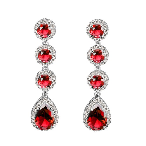 Rhodium Plated With Red Stone Cubic Zirconia Bridal Earrings
