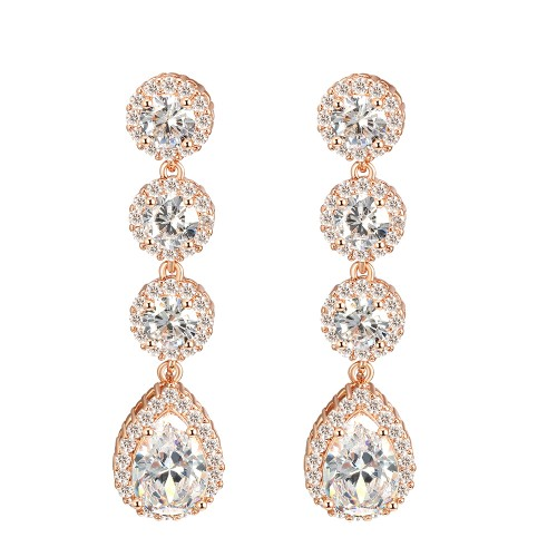 Rose Gold Plated Clear Stone Cubic Zirconia Bridal Earrings