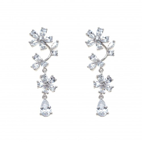 Rhodium Plated with Cubic Zirconia Dangle and Drop Earrings