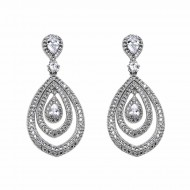 Rhodium Plated wiht Clear Cubic Zirconia Earrings