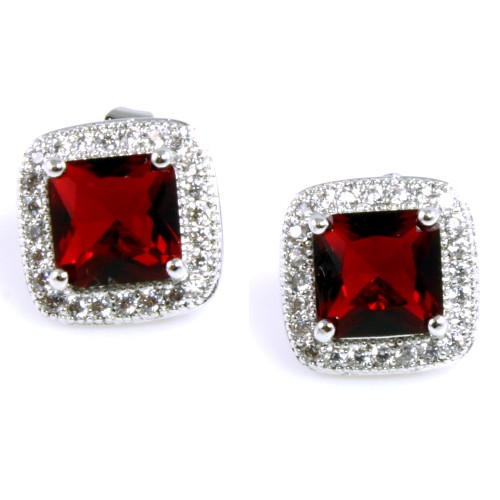Rhodium Plated with Red Cubic Zirconia Earrings