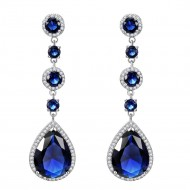 Rhodium Plated with Blue Cubic Zirconia Dangle and Drop Earrings