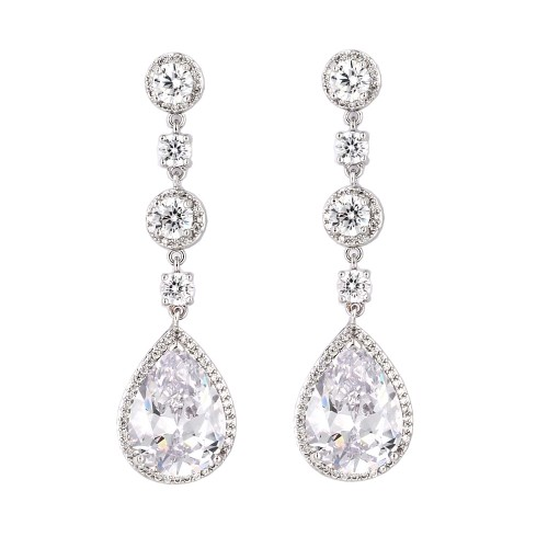 Rhodium Plated With Clear Cubic Zirconia Dangle and Drop Earrings