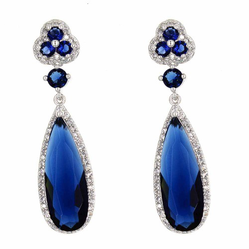 Rhodium Plated with Blue Cubic Zirconia Earrings