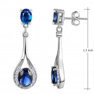 Rhodium Plated With Sapphire Blue Stone Cubic Zirconia Earrings