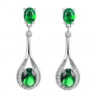 Rhodium Plated With Emerald Green Stone Cubic Zirconia Earrings