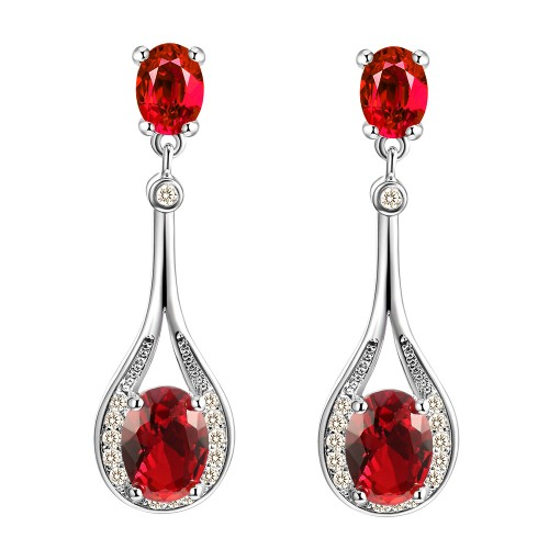 Rhodium Plated With  Red  Stone Earrings