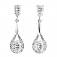 Rhodium Plated With Clear Cubic Zirconia Stone Earrings