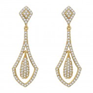Gold Plated with Cubic Zirconia Bridal Earrings