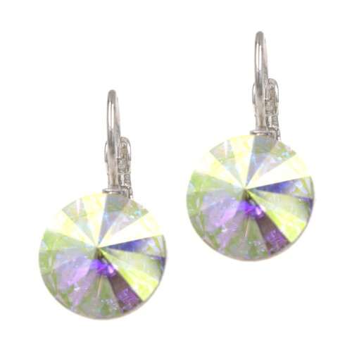 Rhodium Plated with AB Cubic Zirconia Fashion Earrings