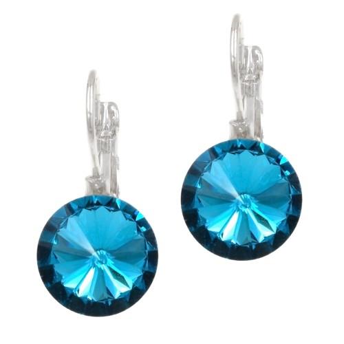 Rhodium Plated with Aqua Blue Cubic Zirconia Fashion Earrings