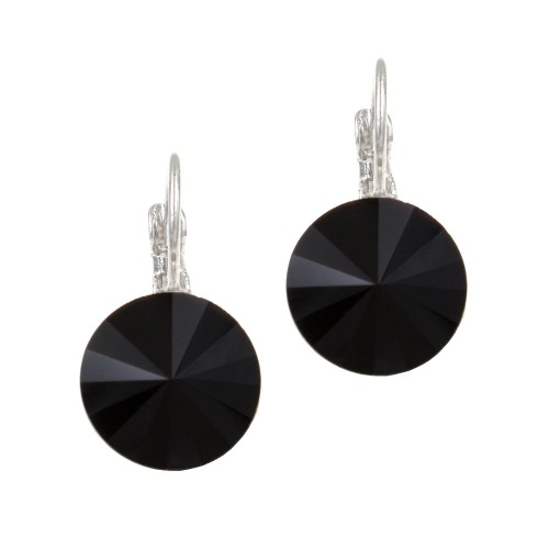 Rhodium Plated with Black Cubic Zirconia Fashion Earrings