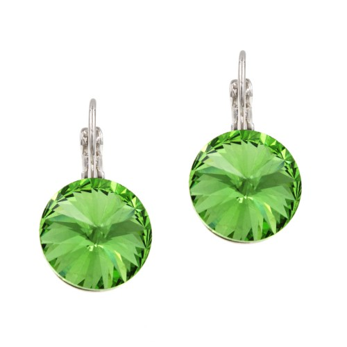Rhodium Plated with Green Cubic Zirconia Fashion Earrings