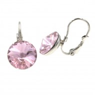 Rhodium Plated with Pink Cubic Zirconia Fashion Earrings