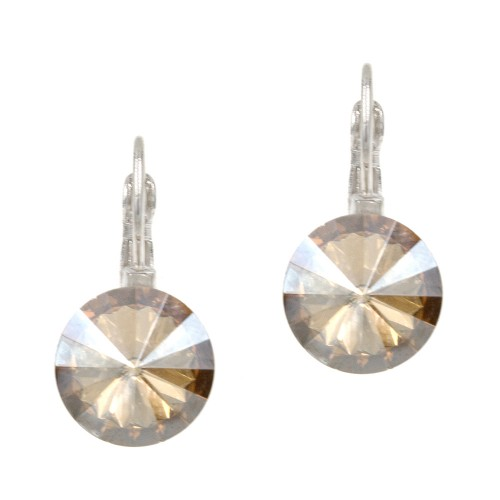 Rhodium Plated with Topaz Cubic Zirconia Fashion Earrings