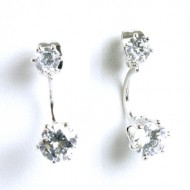 Rhodium Plated Cubic Zirconia Earrings