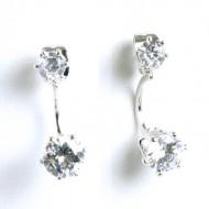 Rhodium Plated Cubic Zirconia Earrings