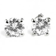 Rhodium Plated with 10mm Cubic Zirconia Stub Earrings