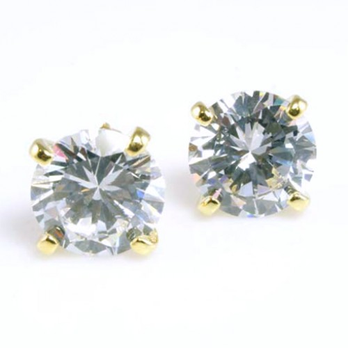 Gold Plated with 11mm Cubic Zirconia Stub Earrings