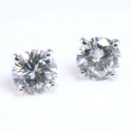 Rhodium Plated with 11mm Cubic Zirconia Stub Earrings