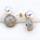 Gold Plated with Cubic Zirconia and Pearl Stub Earrings
