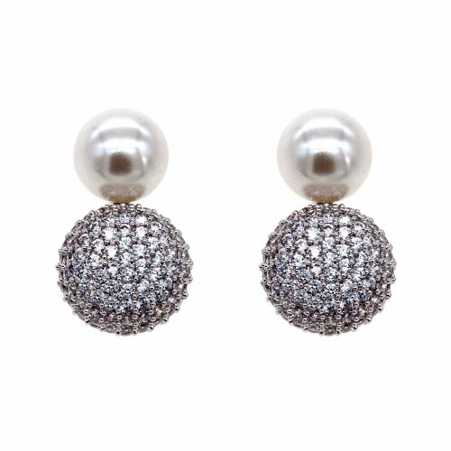 Rhodium Plated with Cubic Zirconia and Pearl Stub Earrings