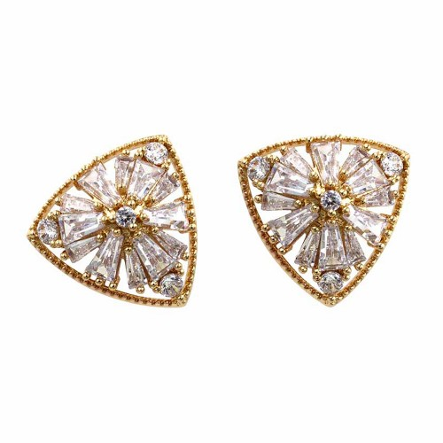 Gold Plated with Cubic Zirconia Stub Earrings