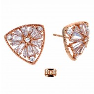 Rose Gold Plated with Cubic Zirconia Stub Earrings