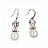 Rhodium Plated with Cubic Zirconia Stub Earrings