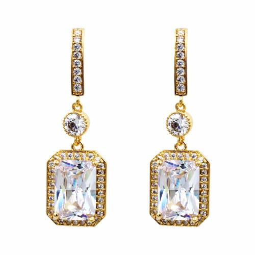 Gold Plated with Cubic Zirconia Dangle and Drop Earrings