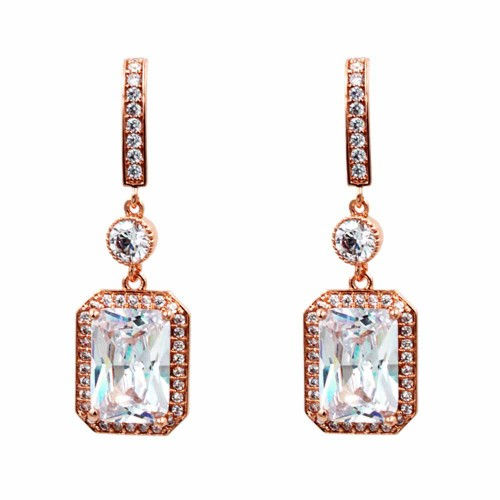 Rose Gold Plated with Cubic Zirconia Dangle and Drop Earrings