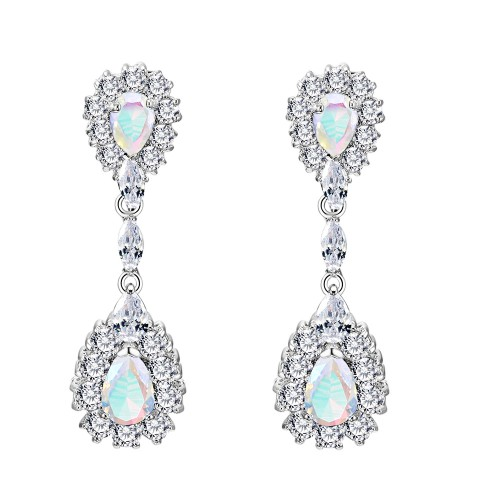 Rhodium Plated with AB Stone Cubic Zirconia Dangle and Drop Earrings