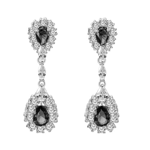 Rhodium Plated with Black Cubic Zirconia Dangle and Drop Earrings