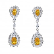 Rhodium Plated with Champagne Cubic Zirconia Dangle and Drop Earrings
