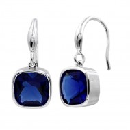 Rhodium Plated With Square Sapphire Blue Stone Drop Earrings