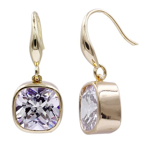 Gold  Plated With Square CZ Drop Earrings