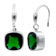 Rhodium Plated With Square Emerald Green Stone  Drop Earrings