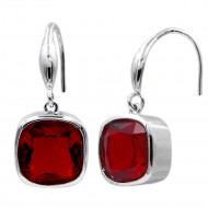 Rhodium Plated With Square Ruby Red Drop Earrings