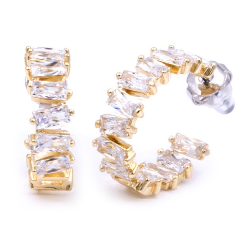 Gold Plated With Clear Color Cubic Zirconia Bagutte Earrings