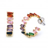 Gold Plated With Multi Color Cubic Zirconia Bagutte Earrings