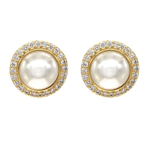 Gold Plated with Cubic Zirconia and Cream Pearl Earrings