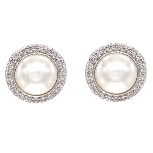 Rhodium Plated with Cubic Zirconia and Cream Pearl Earrings