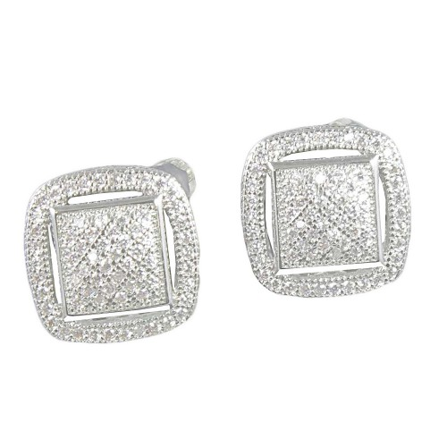 Rhodium Plated With AAA Cubic Zirconia Stub Earrings