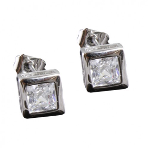 Rhodium Plated with Cubic Zirconia Earrings