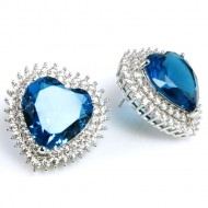 Rhodium Plated with Blue Cubic Zirconia Heart Earrings